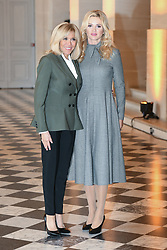 French President's wife Brigitte Macron welcomes Czech Prime Minister's wife Monika Babisova as they take part in a spousal event at the Chateau de Versailles in Versailles, near Paris, on November 11, 2018 as part of commemorations marking the 100th anniversary of the 11 November 1918 armistice, ending World War I. Photo By Laurent Zabulon/ABACAPRESS.COM
