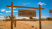Entrance to the Sossuvlei sign, Namib Naukluft Park, Namibia, Africa