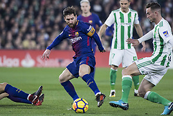 January 21, 2018 - Seville, Spain - LEO MESSI of Barcelona vies for the ball during the La Liga soccer match between Real Betis and FC Barcelona at Benito Villamarin Stadium (Credit Image: © Daniel Gonzalez Acuna via ZUMA Wire)