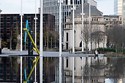 Centenary Square on the day that the second national lockdown came into effect on 5th November 2020 in Birmingham, United Kingdom. The new national lockdown is a huge blow to the economy and for individual businesses who were already struggling with only offering limited services.