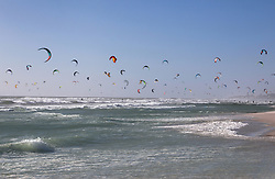 January 19, 2019 - Large group of kite surfers mid air over sea, Cape Town, Western Cape, South Africa (Credit Image: © Bean Creative/Image Source via ZUMA Press)