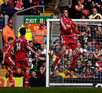 Photo: Jed Wee/Sportsbeat Images.<br /> Liverpool v Arsenal. The Barclays Premiership. 31/03/2007.<br /> <br /> Liverpool's Peter Crouch celebrates his second goal with an instant replay of his header.