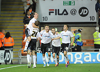 Football - Npower Championship - Blackpool Vs Derby County. Craig Bryson celebrates with teamates after opening the scoring against Blackpool