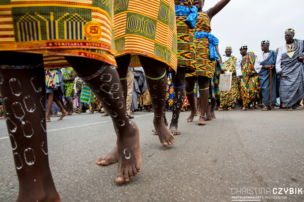 King Cephas Bansah and Queen Gabriele Bansah, Dr. Susi Dattenberg-Doyle (Queen Mother of Gbi Kpoeta Ghana) and Ewefiaga Togbui Agboli K.F.Agokoli IV (King of the Ewe) walk the streets of Notse as part of the ceremony<br /> <br /> Day 3 of the Agbogboza Festival in Notse, Togo on September 3rd, 2016<br /> <br /> ***Togbe Ngoryifia Cephas Kosi Bansah of Gbi Traditional Area Hohoe Ghana and Traditional, Spiritual and Honorable King of the Ewes and his wife, Queen Mother Gabriele Akosua Bansah Ahado Hohoe Ghana***