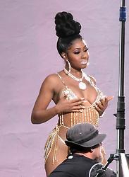EXCLUSIVE: Cardi B. wears a very reveling rhinestone bikini, similar to one worn by rival Nikki Minaj, as she films a music video in Miami. 04 Dec 2018 Pictured: Cardi B. Photo credit: MEGA TheMegaAgency.com +1 888 505 6342