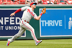 May 6, 2018 - Washington, DC, U.S. - WASHINGTON, DC - MAY 06:  Philadelphia Phillies left fielder Rhys Hoskins (17) makes a catch in the first inning during the game between the Philadelphia Phillies  and the Washington Nationals on May 6, 2018, at Nationals Park, in Washington D.C.  The Washington Nationals defeated the Philadelphia Phillies, 5-4.  (Photo by Mark Goldman/Icon Sportswire) (Credit Image: © Mark Goldman/Icon SMI via ZUMA Press)