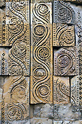 Details of stonework on the Qutb Minar, Delhi, India. The 73 metre high tower of victory was built in 1193 by Qutab-ud-din Aibak immediately after the defeat of Delhi's last Hindu kingdom.