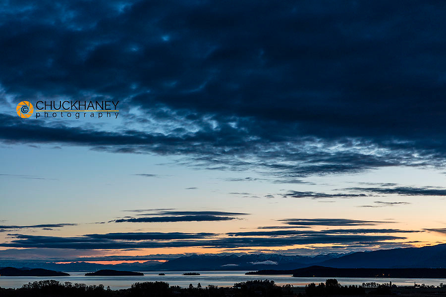 Dawn clouds over Flathead Lake in Polson, Montana, USA