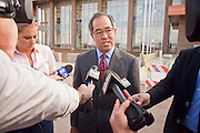 """04 FEBRUARY 2010 - CAMP VERDE, AZ:  James Arthur Ray's attorney Luis Li leaves the Yavapai County Court after Ray's initial appearance. Ray had his initial appearance in Yavapai County Court in Camp Verde Thursday morning. His bail was set at $5 Million Dollars (US). Ray did not post bail and remains in jail. Ray was arrested in Prescott, AZ, on Feb 3 and charged with three counts of manslaughter after three people died during a sweat lodge ceremony he was holding in Sedona, AZ, in October 2009. The ceremony was a part of a """"Spiritual Warrior"""" workshop Ray was leading. He charged participants $8,000 each. PHOTO BY JACK KURTZ   NO SALES"""