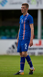 RHYL, WALES - Monday, September 4, 2017: Iceland's Aron Kári Aðalsteinsson during an Under-19 international friendly match between Wales and Iceland at Belle Vue. (Pic by Paul Greenwood/Propaganda)