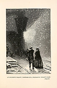 An enormous shadow, preceded by a flickering yellow glare. from the book ' Around the world in eighty days ' by Jules Verne (1828-1905) Translated by Geo. M. Towle, Published in Boston by James. R. Osgood & Co. 1873 First US Edition