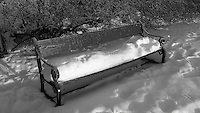 Lonely Bench in the Snow. Winter in Tromsø, Norway. Image taken with a Leica X2 camera (ISO 100, 24 mm, f/5, 1/320). In camera conversion to B&W..