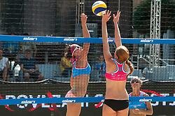 Kelly Claes of USA vs Ana Skarlovnik of Slovenia at Beach Volleyball Challenge Ljubljana 2014, on August 2, 2014 in Kongresni trg, Ljubljana, Slovenia. Photo by Matic Klansek Velej / Sportida.com