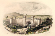 Primrose Hill Tunnel near London, on the London and Birmingham Railway, opened in 1838. Engineer Robert Stephenson (1803-1859)  Built through difficult London clay, the 3/4 mile tunnel cost £240,000.  The portal cost £7,000. Picture shows elementary signally by bells, policeman with flag, and early rotating disc on a standard. From 'The British Gazeteer' (London, 1852).  Engraving.