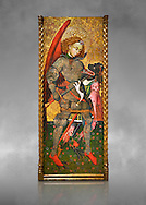 Gothic altarpiece of Archangel Michael ( Sant Miguel Arcangel) by Blasco de Branen of Saragossa, circa 1435-1445 , tempera and gold leaf on for wood.  National Museum of Catalan Art, Barcelona, Spain, inv no: MNAC   114741. Against a grey art background. . .<br /> <br /> If you prefer you can also buy from our ALAMY PHOTO LIBRARY  Collection visit : https://www.alamy.com/portfolio/paul-williams-funkystock/gothic-art-antiquities.html  Type -     MANAC    - into the LOWER SEARCH WITHIN GALLERY box. Refine search by adding background colour, place, museum etc<br /> <br /> Visit our MEDIEVAL GOTHIC ART PHOTO COLLECTIONS for more   photos  to download or buy as prints https://funkystock.photoshelter.com/gallery-collection/Medieval-Gothic-Art-Antiquities-Historic-Sites-Pictures-Images-of/C0000gZ8POl_DCqE