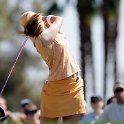 RANCHO MIRAGE, CA, March 31, 2007:  Paula Creamer gets an eyeful of hair after teeing off at Mission Hills Country Club in Rancho Mirage, California during the Kraft Nabisco Championship. ..ora