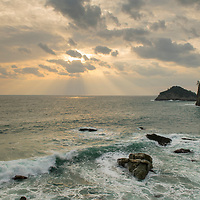 Sunrise along the rugged coastline near Oki on Dogo, the largest of the Oki Islands in Shimane Prefecture, Japan.