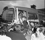 Pelé signs autographs before his bus departs the Dublin airport..May 1979