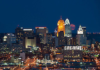 Downtown Cincinnati at Twilight with a Supermoon