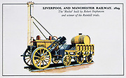 The Rocket',  George Stephenson's steam locomotive which won the Rainhill Trials in 1829 for the locomotive to be used on the Liverpool & Manchester Railway. Early 20th century card. Transport Steam Rail Britain Engineering.