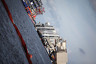 The Costa Concordia yard, the rotation operation started at 9 am with about two hours delay due to the weather condition during the night