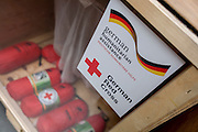 First Aid kits in amergency supplies warehouse, Deutsches Rotes Kreuz (DRK - German Red Cross) at their logistics centre at Berlin-Schönefeld airport.