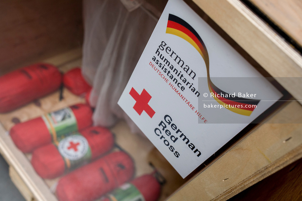 First Aid kits in amergency supplies warehouse, Deutsches Rotes Kreuz (DRK - German Red Cross) at their logistics centre at Berlin-Schönefeld airport.