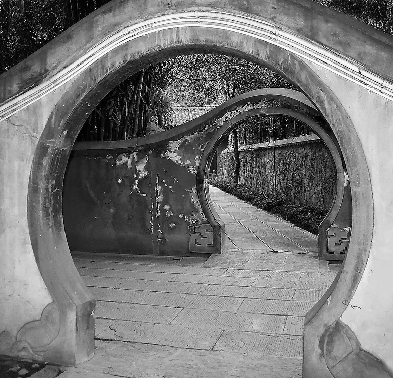 Meandering path with weathered archways in Bejing, China
