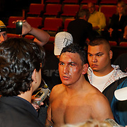 """June 19, 2009 - Richmond, BC - Rumble at the Rock IV - Junior Moar is interviewed after winning the Canadian Light Heavyweight title..Heavyweight fighters Junior Moar of Richmond, BC, and Abdallah Ramadan of Toronto, Ontario, squared off in a ten round bout for the Canadian Light Heavyweight Title. Ramadan's record going into the fight was 15-8-0 with nine wins by KO. Junior """"The Real Deal"""" Moar's record was 6-2-0 with two wins by KO. .Moar won the Canadian light heavyweight title Friday night when Ramadan was disqualified in the sixth round after seemingly never ending series of low blows..The River Rock Casino Resort hosted the West Coast Promotions Rumble at the Rock VI boxing event at the River Rock Show Theatre."""