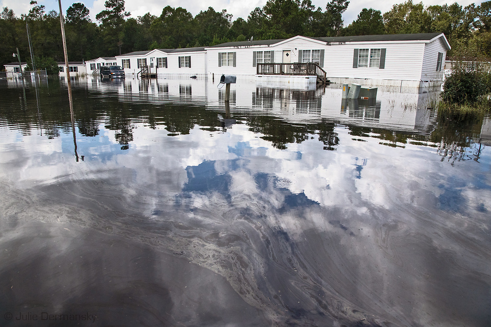 Oil sheen in flooded mobile homes in Bucksport, South Carolina following Hurricane Florence.