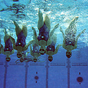 A panoramic image of The Canadian team during the Sychronized swimming team event at the Sydney Olympic Pool at Sydney Olympic Park, during the  2000 Sydney Olympic Games...Panoramic images from the Sydney Olympic Games, Sydney, Australia. 2000 . Photo Tim Clayton