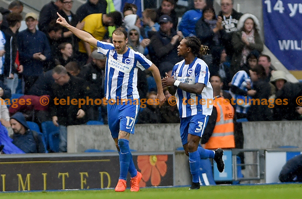 Brighton's Glenn Murray celebrates after he scored Brighton's second goal during the Sky Bet Championship match between Brighton and Hove Albion and Preston North End at the American Express Community Stadium in Brighton and Hove. October 15, 2016.<br /> Liz  Finlayson / Telephoto Images<br /> +44 7967 642437