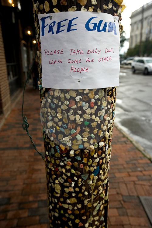 Free Gum post in downtown Charleston, SC. The telephone pole is covered with used gum and often carries a witty sign.