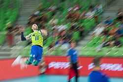 Stern Ziga of Slovenia serving during friendly volleyball match between Slovenia and Serbia in Arena Stozice on 2nd of September, 2019, Ljubljana, Slovenia. Photo by Grega Valancic / Sportida