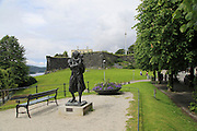 Mother and child sculpture by old fort in Nordnes area, city of Bergen, Norway