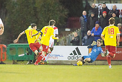 Albion Rover's Ross C Stewart misses a late chance. Albion Rover 1 v 2 Airdrie, Scottish League 1 game played 5/11/2016 at Cliftonhill.