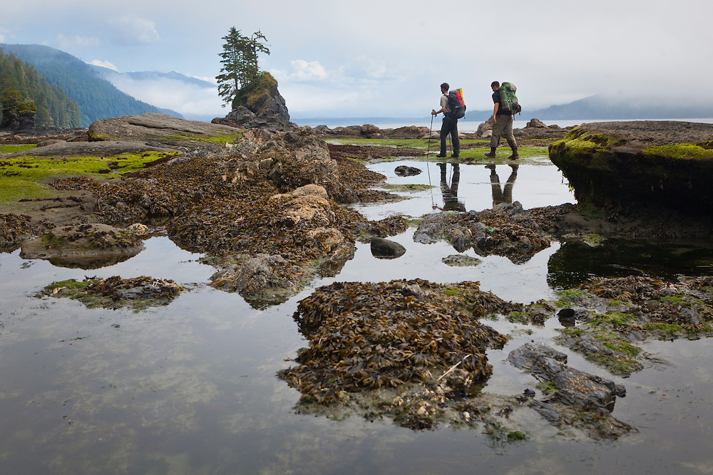 Zach Podell-Eberhard (left) and Henry approach Kellet Rock, West Coast Trail, British Columbia, Canada.