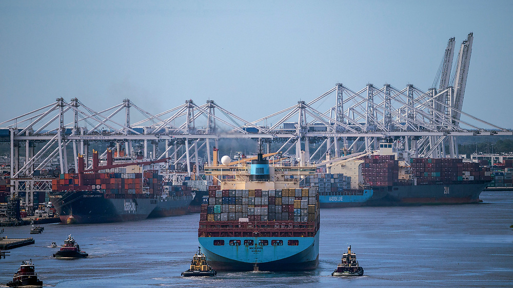 The container ship MSC Kleven sails up river to the Port of Savannah after the country's third busiest container port reopened after Hurricane Matthew in Savannah, Ga., Wednesday, Oct., 12, 2016. (GPA Photo/Stephen Morton)