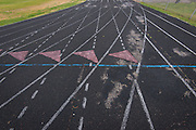 Track surface in disrepair at North Forest High School, February 23, 2015.