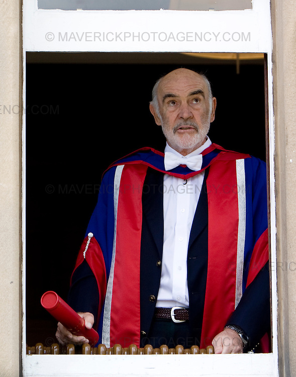 Former James Bond Sir Sean Connery avoids a window closing on him as he collects an honorary degree from Napier University in his home city of Edinburgh...Picture Michael Hughes/Maverick ...