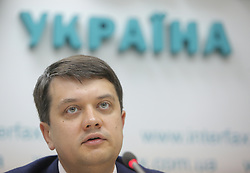 May 27, 2019 - Kiev, Ukraine - The head of newly created political pro-Zelensky party ''The Servant of the People'' Dmytro Razumkov is seen during the media conference in Kyiv,  Ukraine, May 27, 2019. Pro-presidential political party ''The Servant of the People'' was presented in Kyiv. (Credit Image: © Sergii Kharchenko/NurPhoto via ZUMA Press)