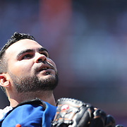 Pitcher Alex Torres, after pitching an inning of outs during the New York Mets Vs Washington Nationals MLB regular season baseball game at Citi Field, Queens, New York. USA. 3rd May 2015. Photo Tim Clayton