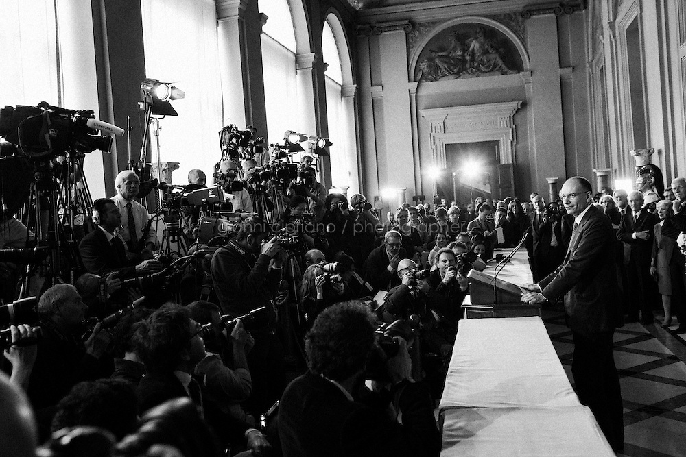 ROME, ITALY - 23 APRIL 2013: Enrico Letta, deputy secretary of Italy's Democratic Party, speaks during a news conference at the Quirinale Palace in Rome, Italy, on Wednesday, April 24, 2013. Letta, deputy secretary of Italy's biggest political party, was designated prime minister in an appointment that promises to end months of political gridlock and foster a generational shift in government.