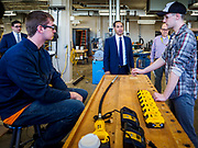 15 APRIL 2019 - DES MOINES, IOWA: JULIÁN CASTRO talks to students during Castro's visit to the Central Campus Skilled Trades Alliance at the Des Moines Public School's Central Campus Monday. Castro is on his third visit to Iowa since declaring his candidacy for the Democratic ticket of the US Presidency. Casto talked to students and administrators about skilled trades education and toured the campus. Iowa traditionally hosts the the first selection event of the presidential election cycle. The Iowa Caucuses will be on Feb. 3, 2020.                PHOTO BY JACK KURTZ