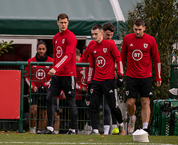 CARDIFF, WALES - Sunday, November 17, 2019: Wales' James Lawrence, Dylan Levitt and Sam Vokes during a training session at the Vale Resort ahead of the final UEFA Euro 2020 Qualifying Group E match against Hungary. (Pic by David Rawcliffe/Propaganda)