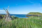 Stack of wood for a bonfire in the Norstead Viking Village and Port of Trade reconstruction of a Viking Age settlement, Newfoundland, Canada