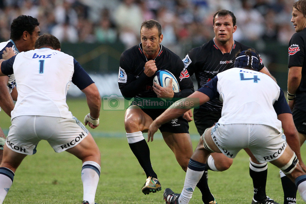 Stefan Terblanche of The Sharks during the Super15 match between The Mr Price Sharks and The Blues held at Mr Price Kings Park Stadium in Durban on the 26th February 2011..Photo By:  Ron Gaunt/SPORTZPICS