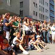 Tourists audience watching  street performance in Vienna on Stephansplatz