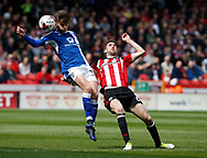 Joe Rowley of Chesterfield in action with Chris Basham of Sheffield Utd during the English League One match at  Bramall Lane Stadium, Sheffield. Picture date: April 30th 2017. Pic credit should read: Simon Bellis/Sportimage