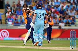 India's Mohammed Shami reacts after a chance at England's Jonny Bairstow's wicket during the ICC Cricket World Cup group stage match at Edgbaston, Birmingham.